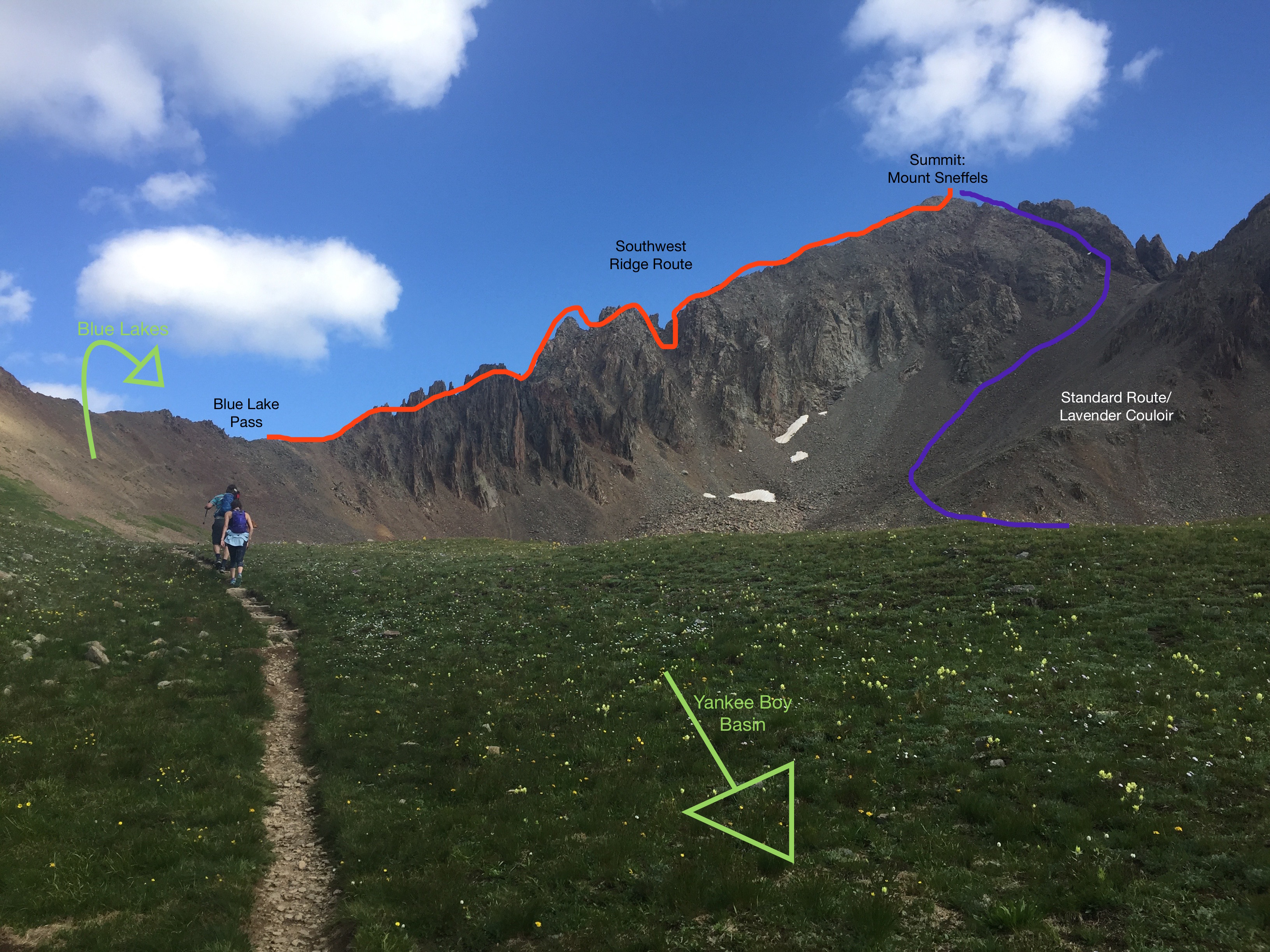 Mount Sneffels Hiking Routes - Telluride Mountain Club